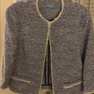 Chanel-like jacket blue and cream. S